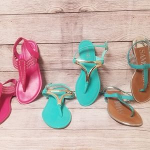 Women's sandals teal/hot pink 3 pair size 8